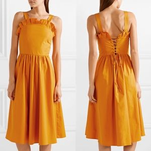 Sea New York Marigold Sunrise Lace Up Midi Dress